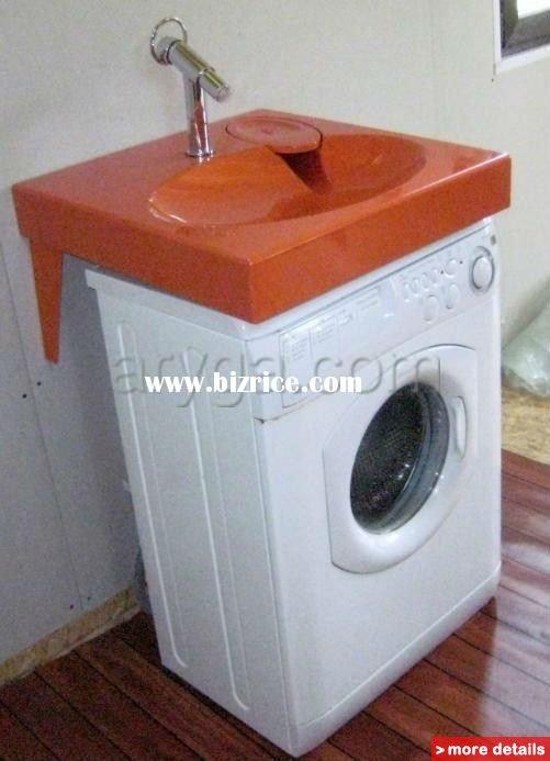 Washer Sink Combo : ... , flat bathroom sink fits above washing machine. Pretty cool idea