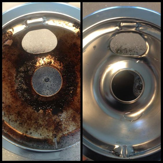 The Dawn/Vinegar solution removed soap scum so well I decided to try it on our nasty drip pans. Works better than anything else I've ever tried!    Here's what I did.   Fill sink with 1/2 cup Dawn Soap, 2 cups boiling vinegar, 8 cups boiling water and the rest just hot water from faucet. Soak for 30+ minutes. Scrub away the nasty!