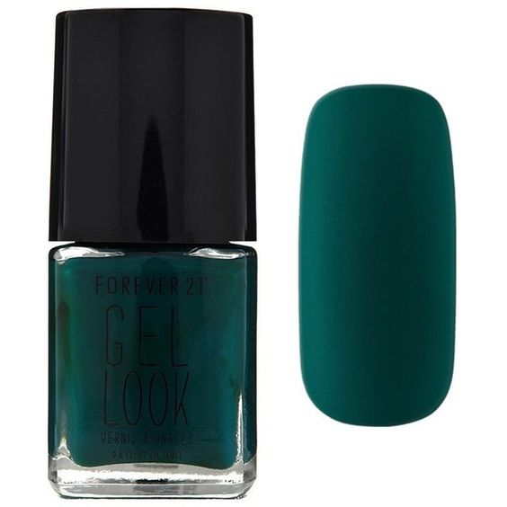 Forever21 Dark Green Gel Look Nail Polish ($3.90) ❤ liked on Polyvore featuring beauty products, nail care, nail polish, dark green, forever 21, gel nail care, gel nail color, gel nail polish and forever 21 nail polish