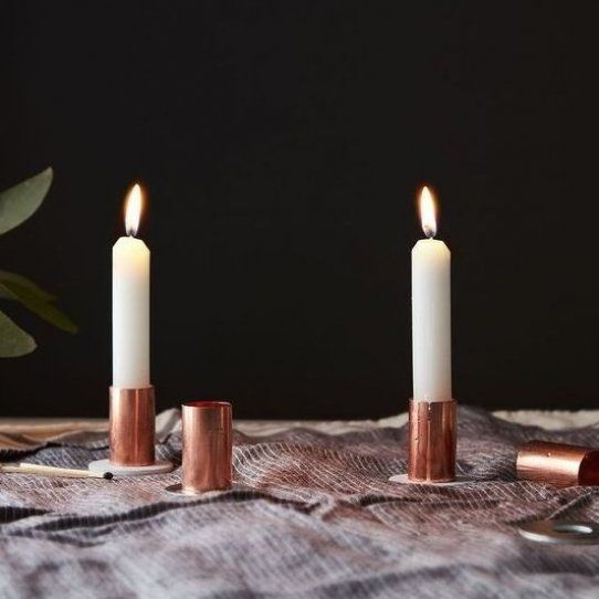 Diy Metallic Candlesticks That Ll Only Run You 1 Each On Food52 In 2020 Diy Candle Sticks Diy Taper Candle Holders Diy Candle Stick Holder