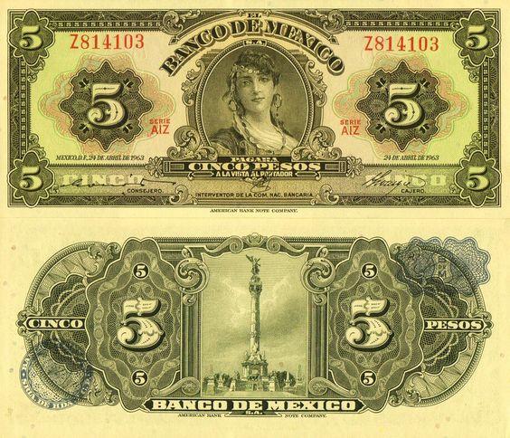 Billete de cinco pesos 1963
