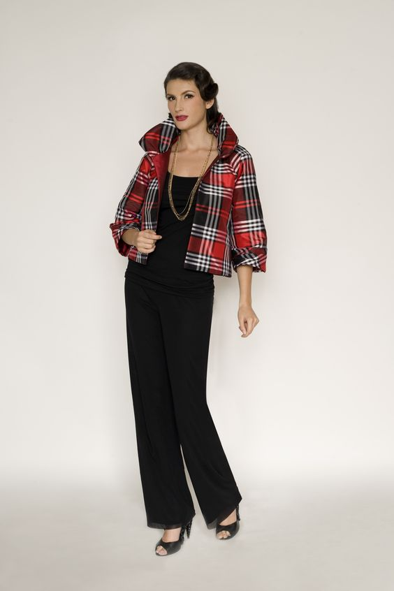 3371CF1 plaid holiday jacket in CF161   http://www.marisabaratelli.com/collections/fall-classics-/blouses-a-jackets.html?page=shop.product_details=vmj_color_plus_new.tpl_id=57_id=7