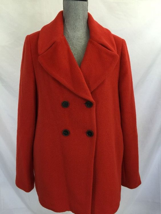 Tommy Hilfiger Wool Blend Orange Pea Coat XL WOMENS New $349 ...