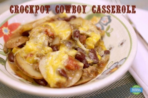 Crockpot Cowboy Casserole - This is one of our favorite slow cooker recipes! It's so tasty, hearty, and filling. Perfect for these cooler temperatures!