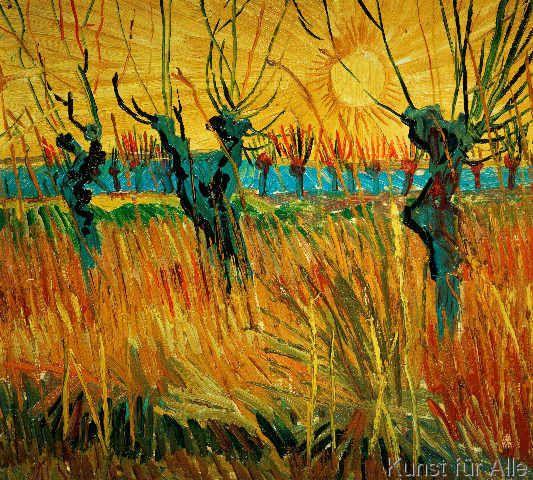 Vincent van Gogh - Weiden bei Sonnenuntergang