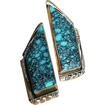 Huge Turquoise Sterling Silver Earrings Navajo Jerry T. Nelson