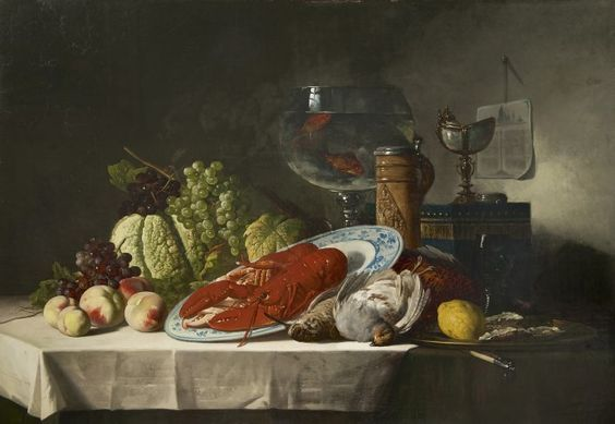 Lucien Victor 'Luc' Schaefels (Antwerpen (België) 1824-1885) Still life with a lobster and - Dutch Art Gallery Simonis and Buunk Ede, Netherlands.