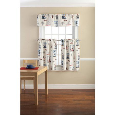 Mainstays Lighthouse Printed Valance and Tier Set