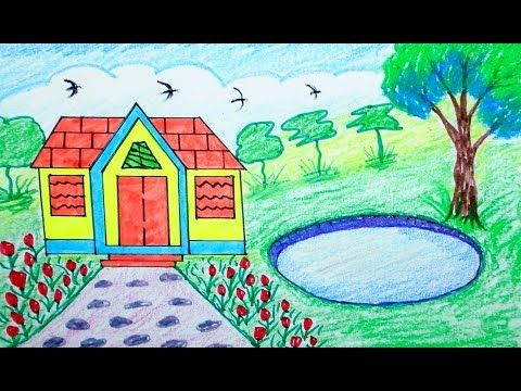 How To Draw Scenery House Mountain Draw For Beginners Draw For Kids For Children Drawing Drawing For Kids House Drawing For Kids Drawing For Beginners