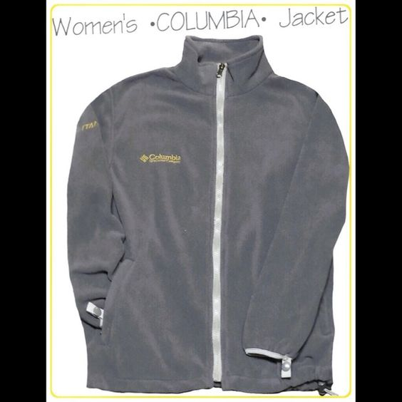 COLUMBIA ZIP UP FLEECE JACKET GRAY/YELLOW. MEDIUM WOMENS COLUMBIA FLEECE STYLE ZIP UP JACKET! EXCELLENT GENTLY LOVED CONDITION. NO STAINS, NO HOLES/TEARS, NO FLAWS OTHER THAN NORMAL WASH WEAR. COOL GRAYISH COLOR WITH YELLOW COLUMBIA EMBLEM. WOMENS SIZE MEDIUM. Columbia Tops