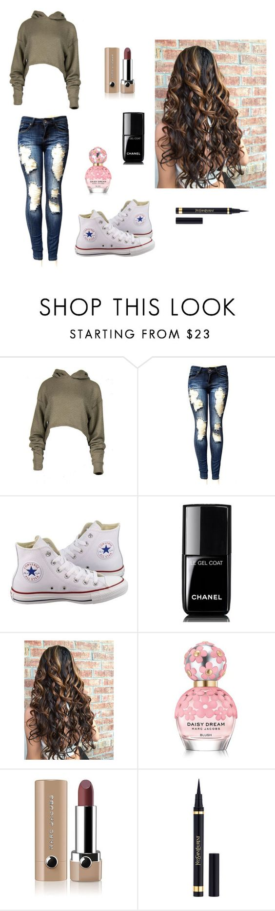 """""""Weekend with friends"""" by kiana-champ ❤ liked on Polyvore featuring Converse, Chanel, Marc Jacobs and Yves Saint Laurent"""