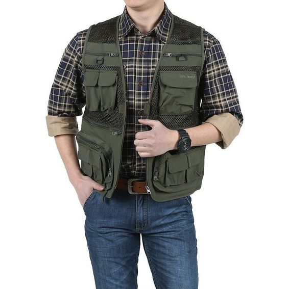 Outdoor Fishing Vest-Men's travel Quick Dry thin Polyester Sleeveless Waistcoat