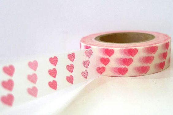 Pink Small Hearts Japanese Washi Tape by PrettyTape on Etsy, $3.90