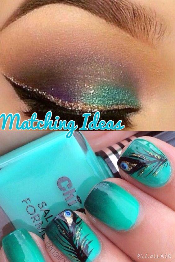 Matching nails and eye make up ideas.
