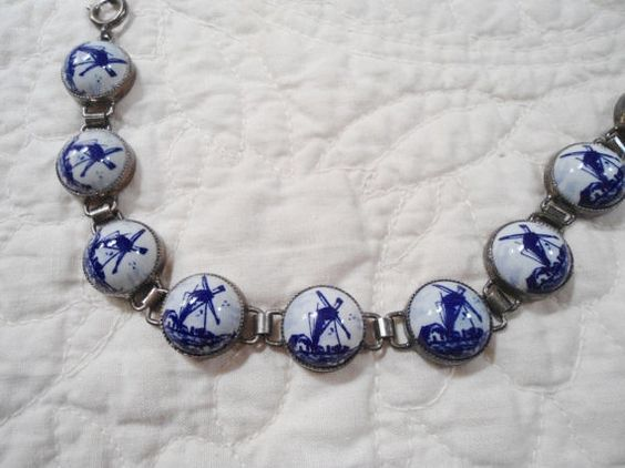 Blue Delft Bracelet Blue Delft Dutch Windmill by LandofBridget