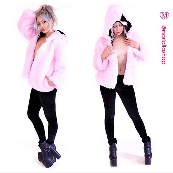 """R/P @MARIALIAshop // We love fur but only when it's faux! Bring out your inner ethical diva in this kawaii-cute furry pink hooded jacket; accented with a black velvet bow and also features pockets for storing snacks. Model is 5'4"""" and is wearing a S. Made in the USA. Handmade with love in Los Angeles CA. // tap link in bio to shop this """"faux fur jacket in bby pink"""" ($159)  #MARIALIA by marialia found via http://ift.tt/1C7GJT5"""