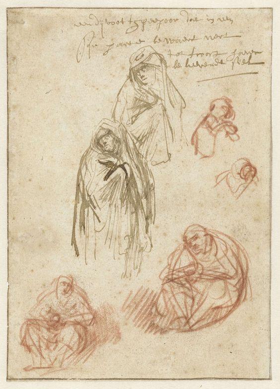Rembrandt Harmensz. van Rijn | Studies of grieving Marys, Rembrandt Harmensz. van Rijn, 1635 - 1636 |