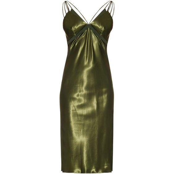 Alexander Wang Braid-detail silk-satin dress ($1,295) ❤ liked on Polyvore featuring dresses, khaki, woven dress, alexander wang, green cocktail dress, alexander wang dresses and wrap dress