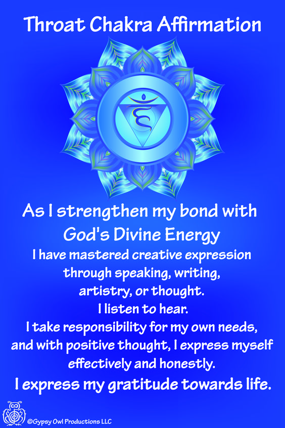 The throat Chakra is also knowns the Vishuddhi chakra refers to our true voice. It's color is blue or turquoise for communication and it is the color used to soothe the soul.