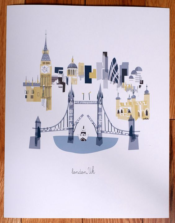 London  (via Etsy). I've never been to London but always wanted to. Love this print.
