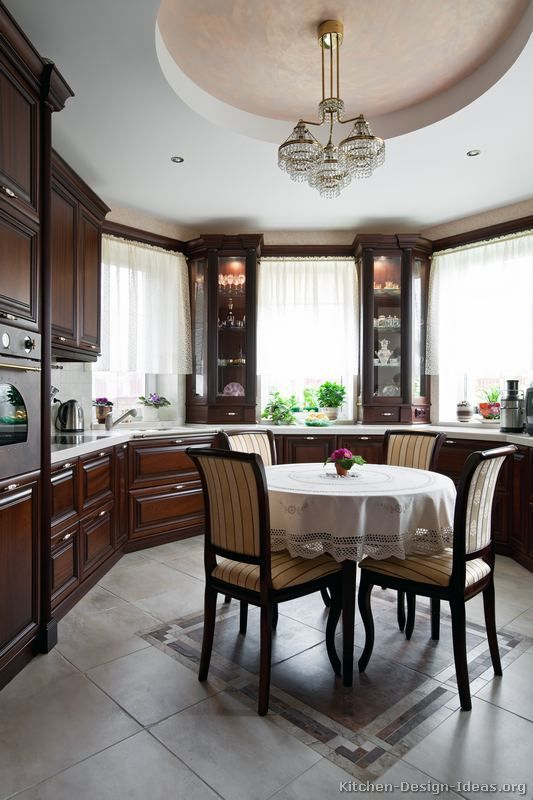 "A ""Kitchen in the Round"" ... Traditional Dark Cherry Wood ..."