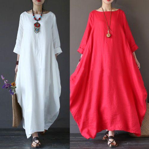 2017 Women Boho Long Sleeve Loose Cotton Linen Summer Sundress Dresses Plus Size Vestidos Afganos Vestidos De Mujer Vestidos Largos Para Gorditas