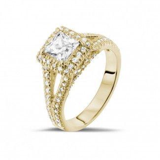 Geelgouden Diamanten Verlovingsringen - 1.00 caraat diamanten solitaire ring in geel goud met zijdiamanten