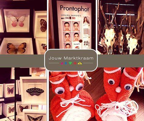 Mensen vragen ons wel eens: maar wát kun je bij Jouw Marktkraam kopen? Dat wisselt elke dag en per vestiging. Naast o.a. vintage en nieuwe kleding en woonaccessoires, kun je het eigenijk zo gek nog niet bedenken! Hier een bijzondere selectie van een aantal kramen door heel Nederland: pasfotoservice, creatieve Koningsdag-cadeaus, vintage schedels en kunstvlinders.  Laat je verrassen!
