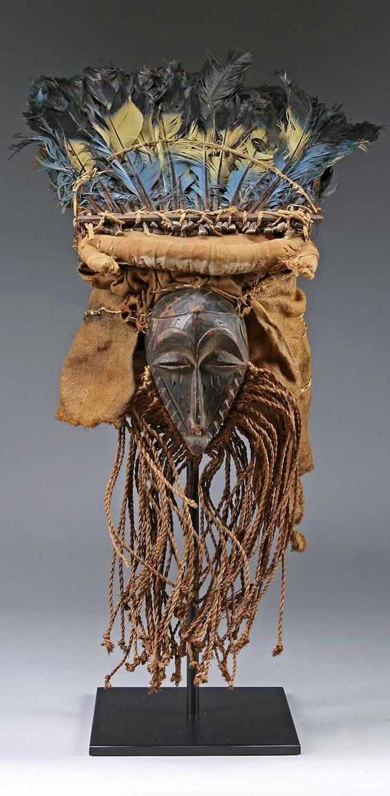 Africa | Mask from the Kasai Pende people of DR Congo | Wood, feathers, textiles and natural fiber