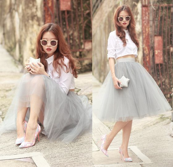 Choies Cropped Shirt, Alexandra Grecco Gretta Tulle Skirt, Choies Star Purse, Sophia Webster Skyla Heels