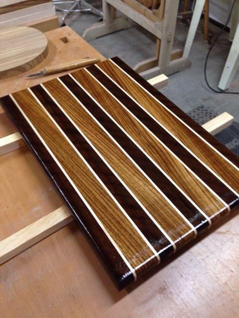 Cutting Board English Brown Walnut Zebra Wood And Rock