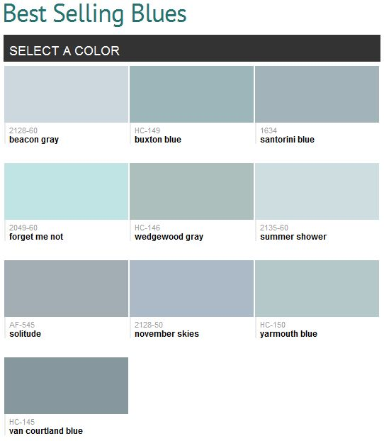 Best selling blues (Benjamin Moore)... Can I use them all? I love blues | Paint  Colors | Pinterest | Benjamin moore, House and Bedrooms