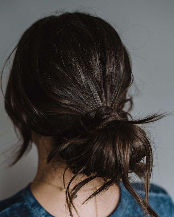 Cute messy hair bun