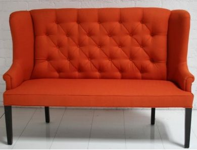 florence dining love seat orange tufted high back sofa in ivory or tan here we go time. Black Bedroom Furniture Sets. Home Design Ideas