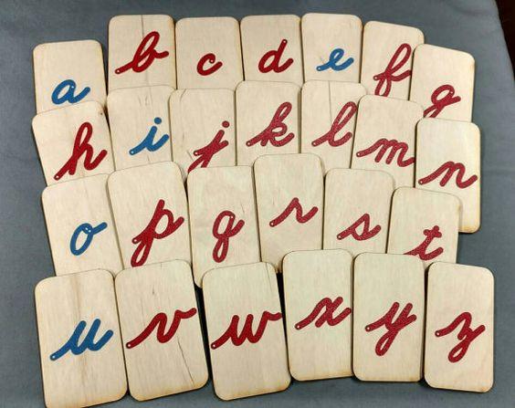 Letras de lija mini fuente cursiva minúscula 2 en por polliwog77