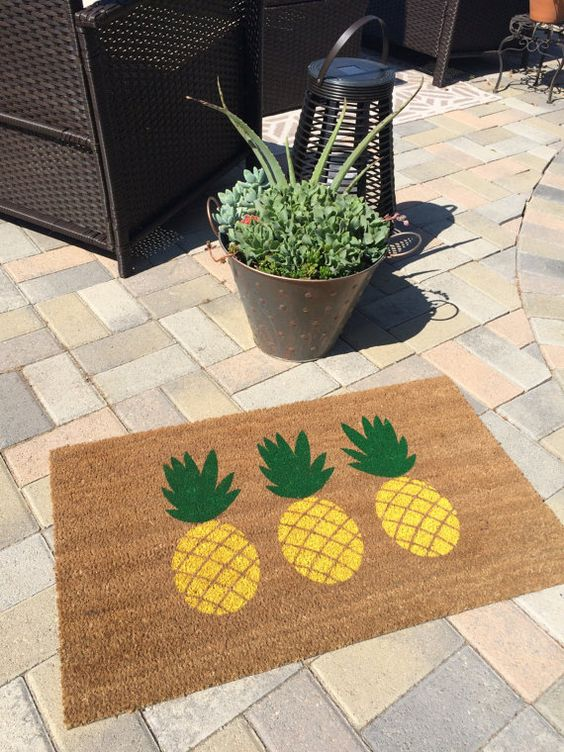 Pineapple Whip doormat. Hand painted by NickelDesignsShop on Etsy