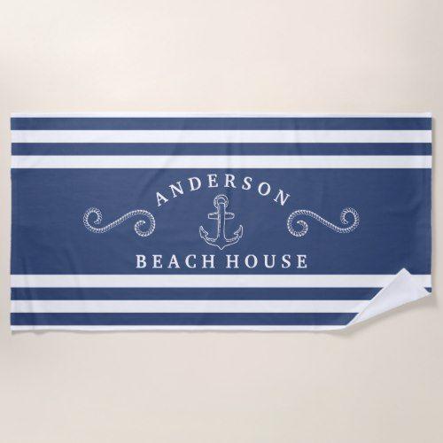 Navy White Personalized Nautical Beach House Beach Towel