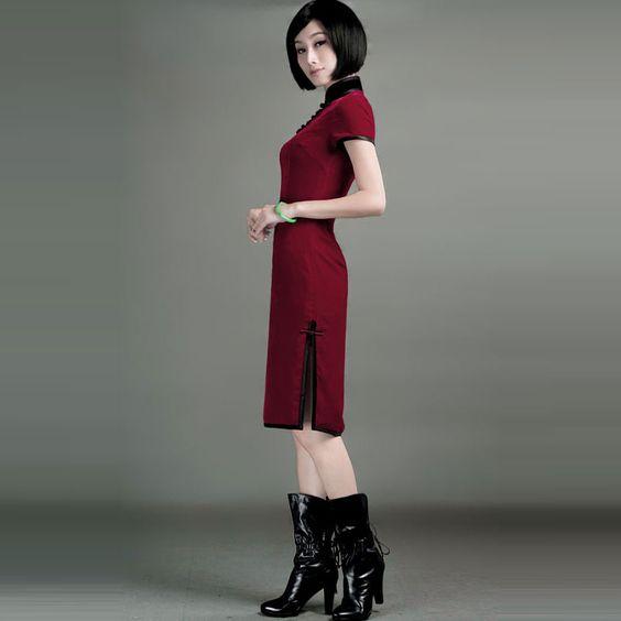 New Classic Chinese Silk Georgette Velvet Shanghai Tang Cheongsam Dress - $242 - SKU: 709413 - Buy Now: http://elegente.com/nzx.html #ChineseladyQipao #Qipao #Cheongsam