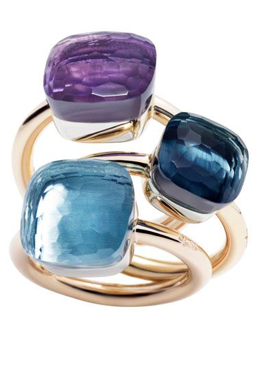 Step into summer with bright eye-catching motifs. Pomellato rings. $2250 each!