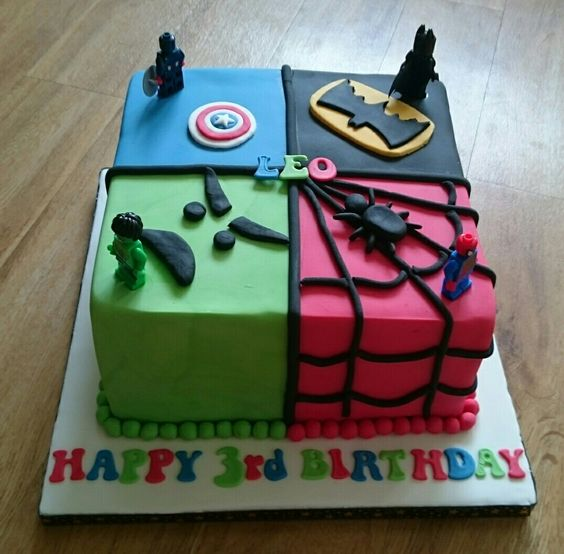 Lego Superhero Square Cake Batman Spiderman Hill Captain America