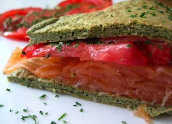 Hemp Coriander Protein Panbread (more than a pancake, less than a bread) with Smoked Salmon and Tomato
