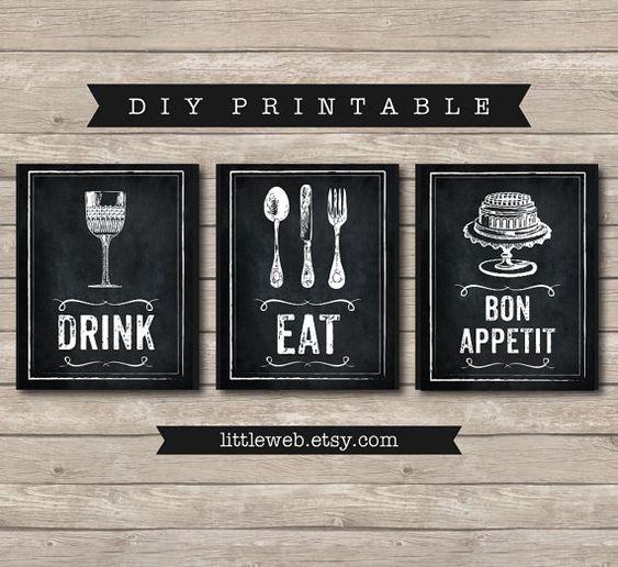 Essen trinken und Bon Appetit Ausdrucke von LittleWebWritingHood