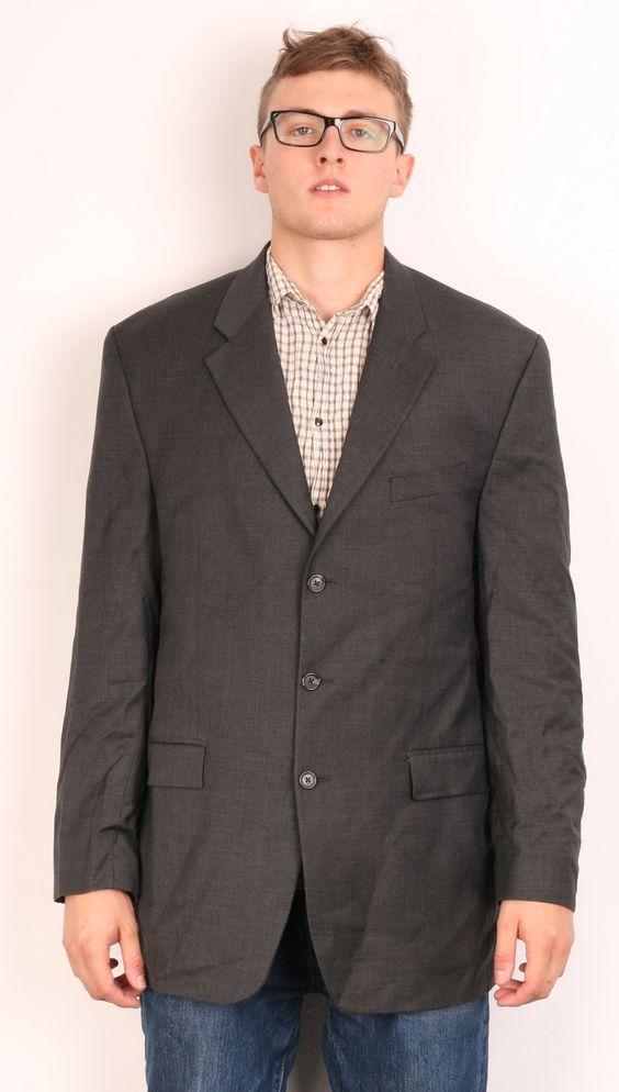 Chaps Ralph Lauren Mens M/L Top Suit Dark Grey Wool Cashmere
