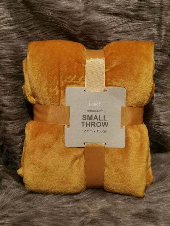 Primark Mustard Yellow Fleece Throw Soft Blanket Home Decore New 120x150cm Mustard Throw Blanket Soft Blankets Yellow Throw Blanket
