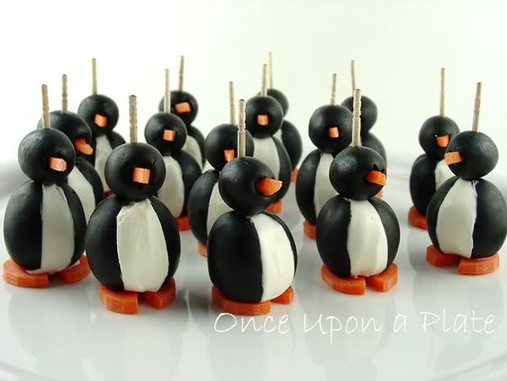 Olive penguin appetizers