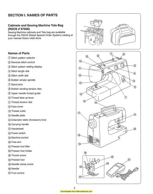 Kenmore 385 15202 385 15208 Sewing Machine Instruction Manual