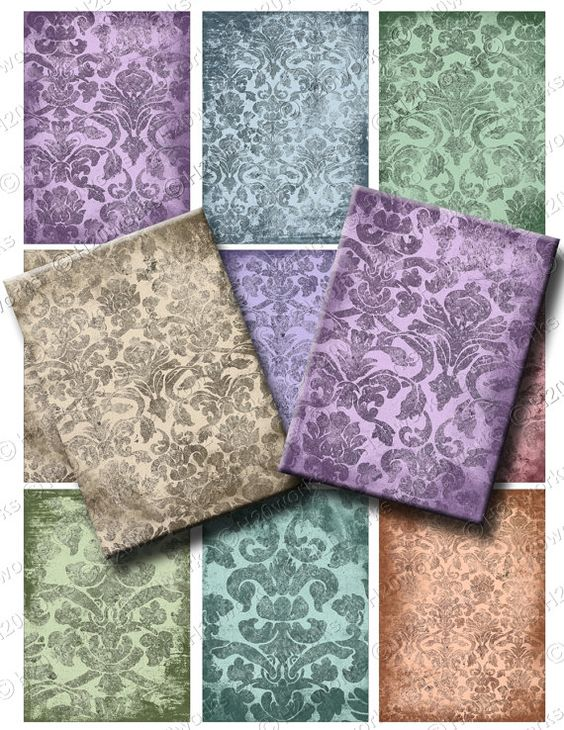 Damask Grunge ACEO Digital Backgrounds  - Digital Collage Sheet by H20worksDesigns