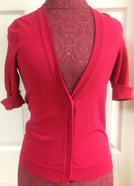 Ann Taylor Womens Hot Pink Short Sleeve Cuffed Open Front Sweater ...