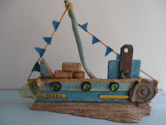 One of my driftwood boats, this one is called Ted. Sea side art design by Philippa Komercharo.
