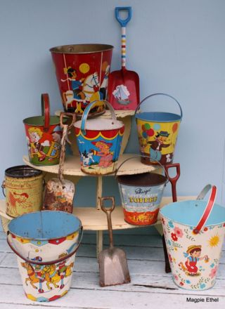Vintage Sand Buckets....would be so cute as a storage option in a kids room/school room for supplies